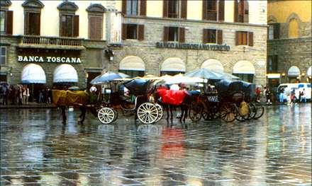 carriages in the Piazza della Signoria